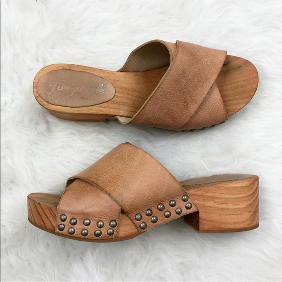 632511fc039e9 Free People Shoes - Free People Wooden Stud Platform Mule Slides